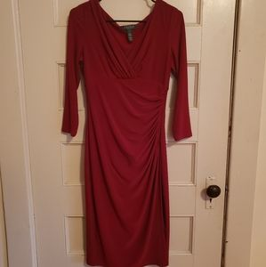 Ruby red wrap dress with 3/4 sleeves